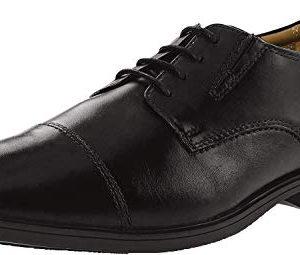 Clarks Mens Tilden Cap Oxford Shoe,Black Leather,11.5 M US