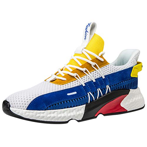 Mens Sneakers Woven Mesh Breathable Ultra Light Elastic Anti-Slip Stylish Wild Comfortable Outdoor Casual Athletic&Running Shoes (Yellow, US:7.5)