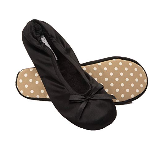 Jessica Simpson Womens Satin Ballerina Yoga Slipper with Bow (Black, Size Extra Large)