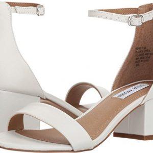 Steve Madden Womens Irenee Heeled Sandal, White Leather, 8.5 M US