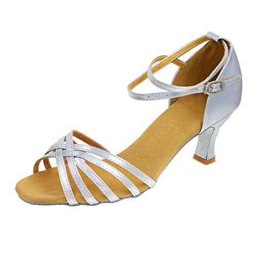 GetMine Womens Professional Latin Dance Shoes Satin Salsa Ballroom Wedding Dancing Shoes 2.4\ Heel 8 Silver