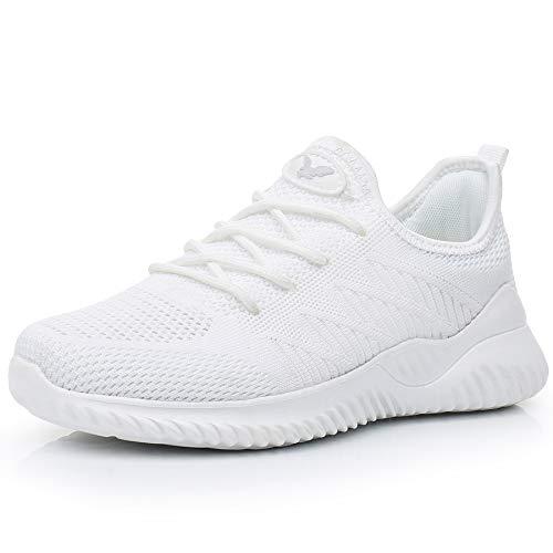 JARLIF Womens Memory Foam Slip On Walking Tennis Shoes Lightweight Gym Jogging Sports Athletic Running Sneakers White 7.5 B(M) US