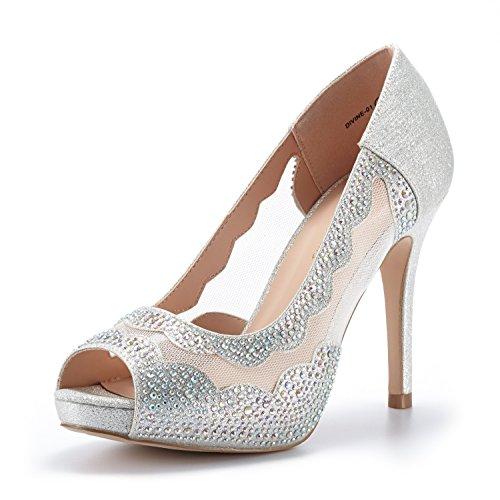 DREAM PAIRS Womens Divine-01 Silver High Heel Pump Shoes - 8.5 M US