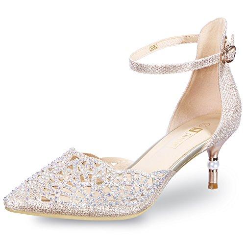 IDIFU Womens IN2 Candice Wedding Rhinestones Sequins Low Kitten Heels Pumps Dress Evening Shoes for Women Bridal Bride Gold 8 B(M) US